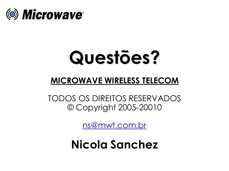 Questões? MICROWAVE WIRELESS TELECOM TODOS OS DIREITOS RESERVADOS © Copyright 2005-20010 ns@mwt.com.br Nicola Sanchez