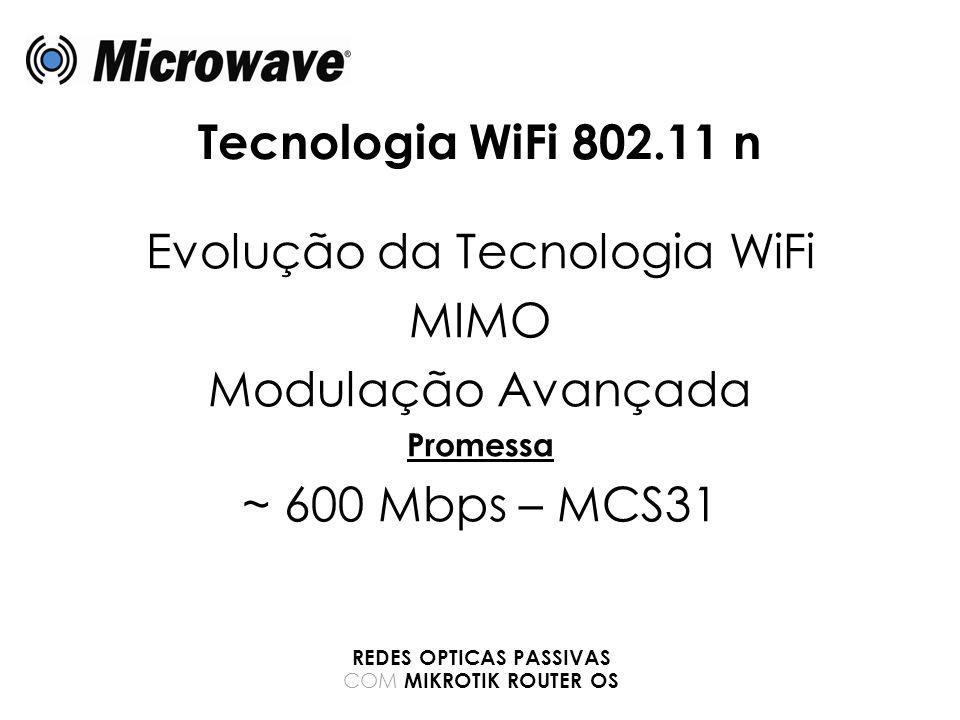 Tecnologia WiFi 802.11 n Evolução da Tecnologia WiFi MIMO Modulação Avançada Promessa ~ 600 Mbps – MCS31 REDES OPTICAS PASSIVAS COM MIKROTIK ROUTER OS