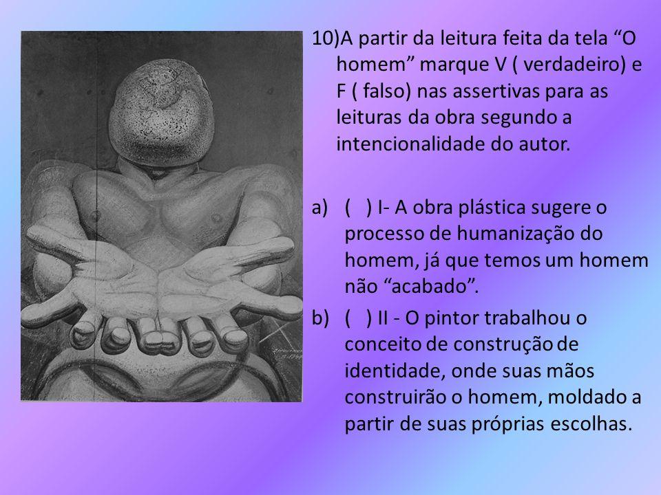 """10)A partir da leitura feita da tela """"O homem"""" marque V ( verdadeiro) e F ( falso) nas assertivas para as leituras da obra segundo a intencionalidade"""