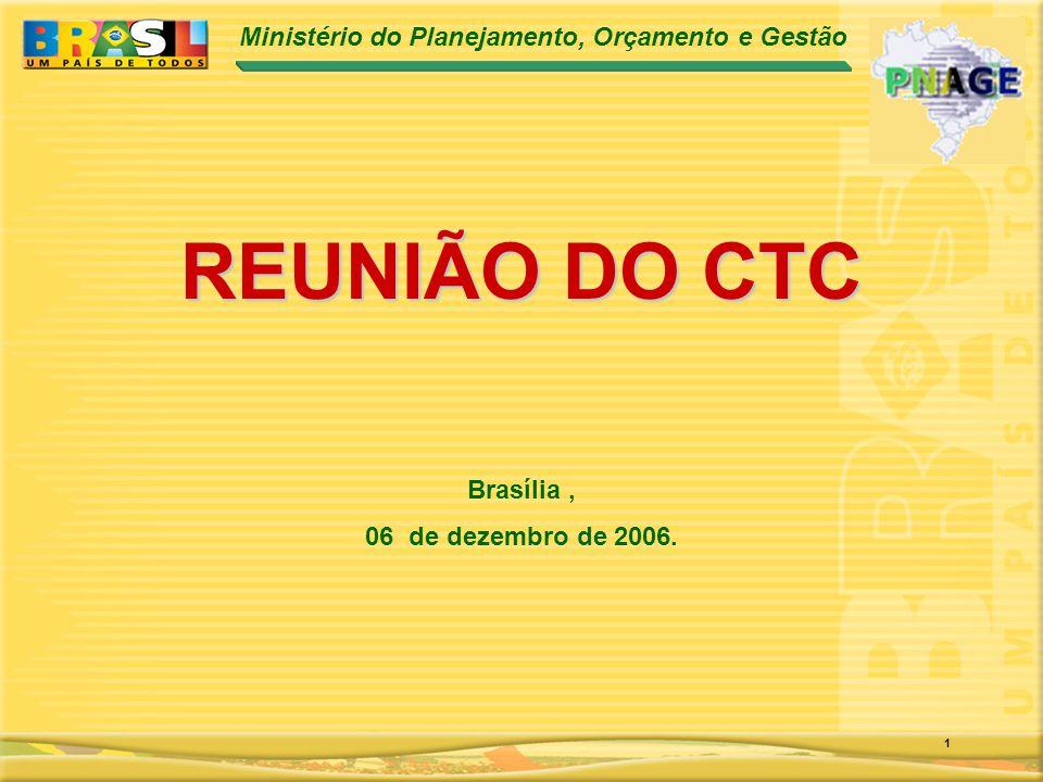 Ministério do Planejamento, Orçamento e Gestão 1 REUNIÃO DO CTC Brasília, 06 de dezembro de 2006.