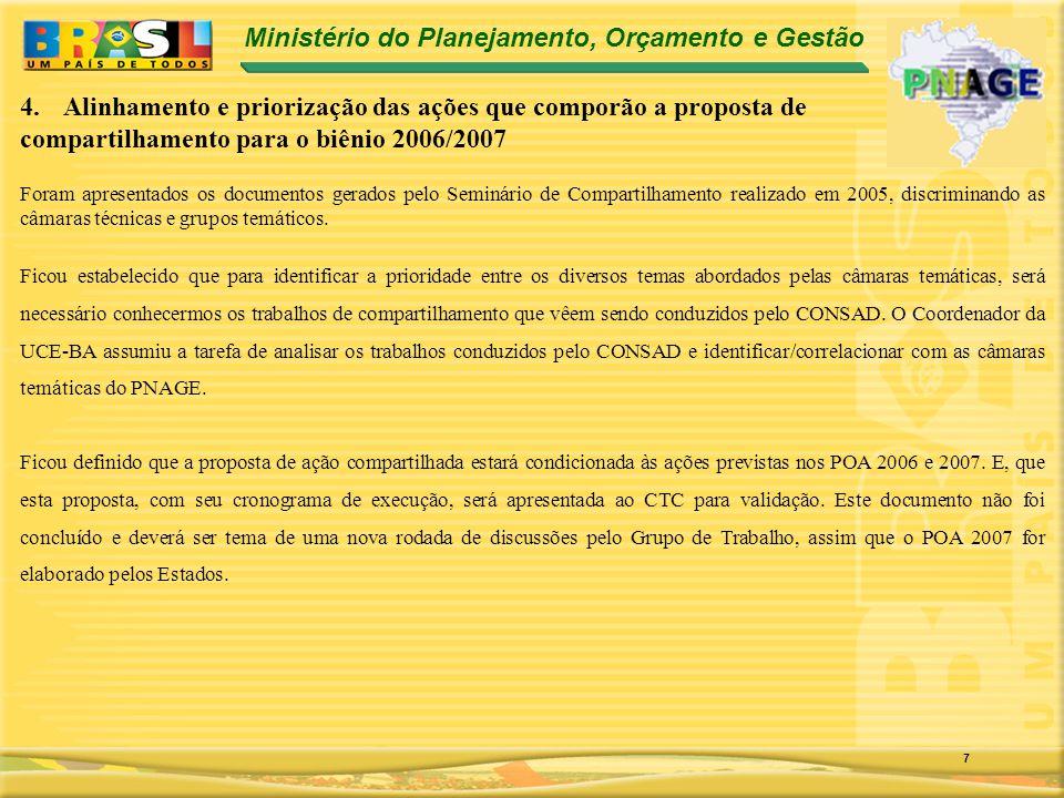 Ministério do Planejamento, Orçamento e Gestão 7 Foram apresentados os documentos gerados pelo Seminário de Compartilhamento realizado em 2005, discriminando as câmaras técnicas e grupos temáticos.