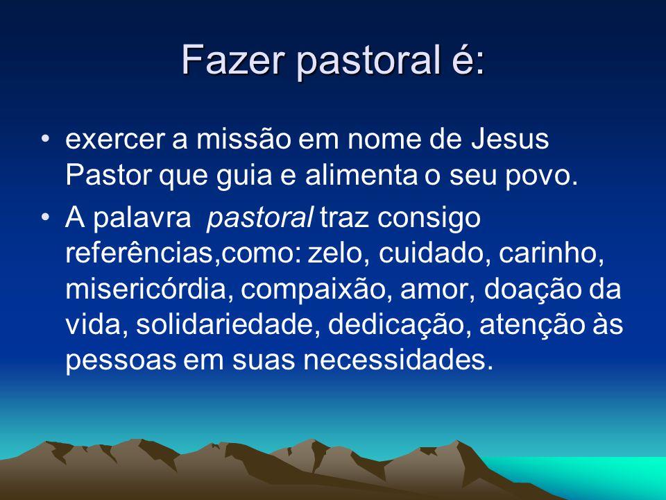 Fazer pastoral é: •exercer a missão em nome de Jesus Pastor que guia e alimenta o seu povo.