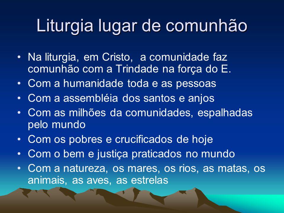Liturgia lugar de comunhão •Na liturgia, em Cristo, a comunidade faz comunhão com a Trindade na força do E.