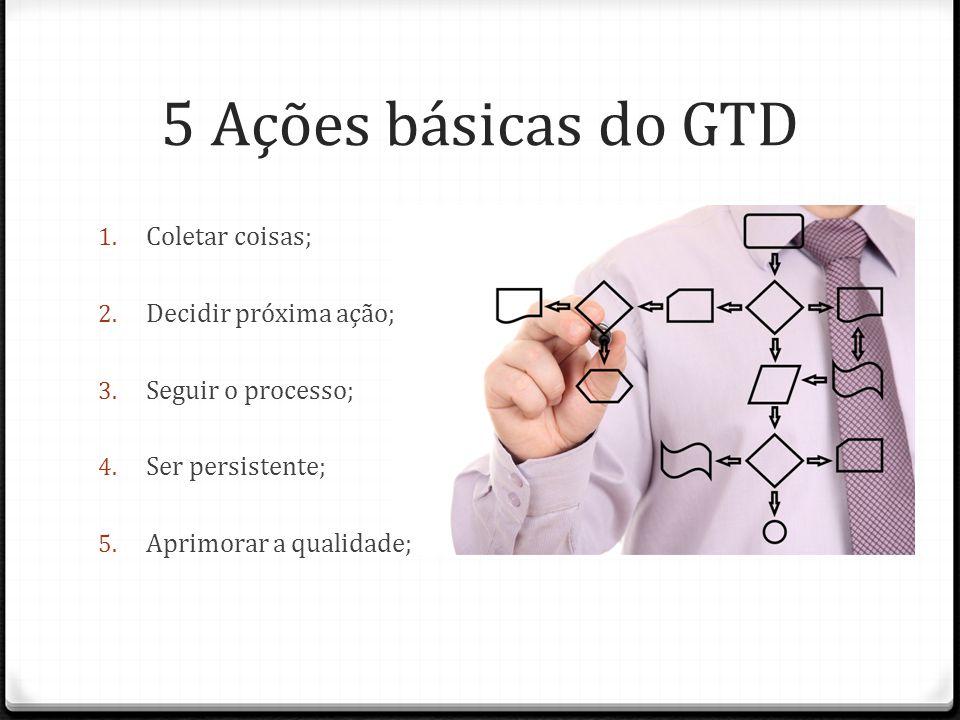 5 Ações básicas do GTD 1. Coletar coisas; 2. Decidir próxima ação; 3. Seguir o processo; 4. Ser persistente; 5. Aprimorar a qualidade;