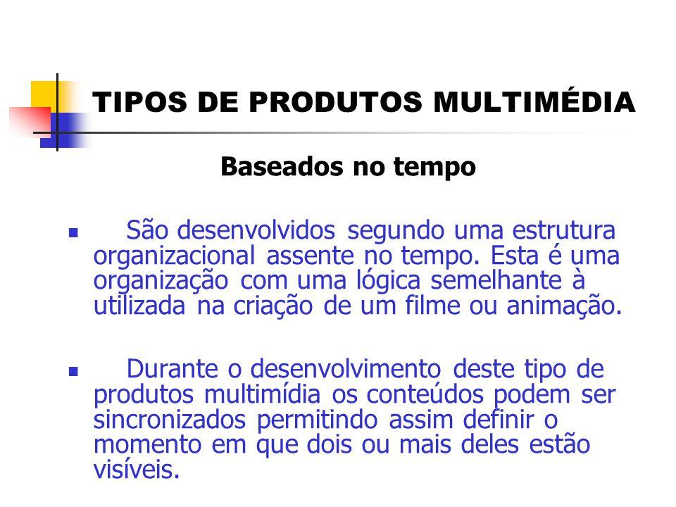 TIPOS DE PRODUTOS MULTIMÉDIA Baseados no tempo  São desenvolvidos segundo uma estrutura organizacional assente no tempo. Esta é uma organização com u