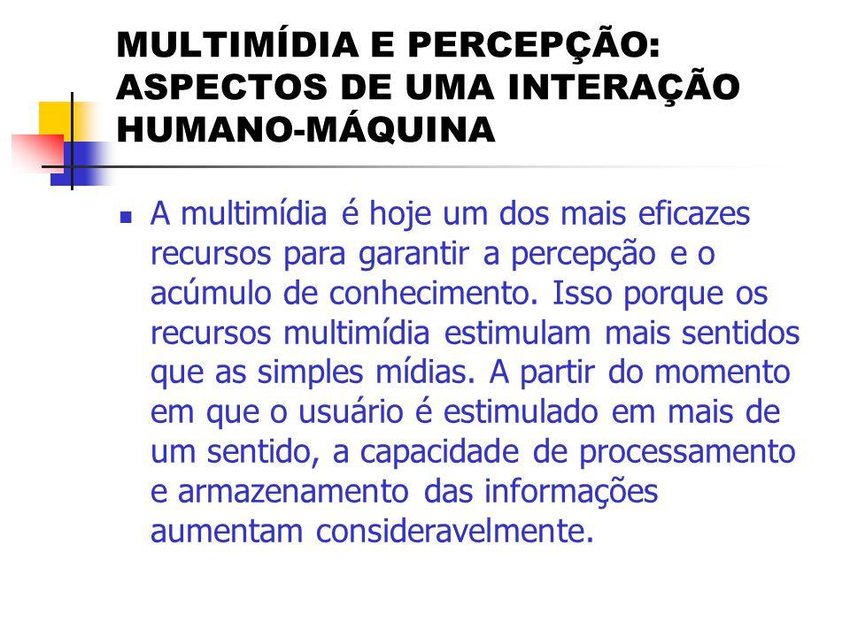 MULTIMÍDIA E PERCEPÇÃO: ASPECTOS DE UMA INTERAÇÃO HUMANO-MÁQUINA  Segundo Márcio Matias, o percentual de eficácia das principais mídias na percepção humana é de:  Visual = 55%  Vocal = 38%  Textual = 7%