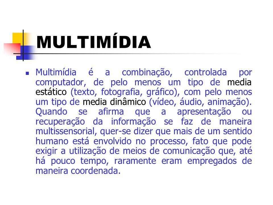 ALGUNS COMPONENTES MULTIMÍDIAS  Som (voz humana, música, efeitos especiais)  Fotografia (imagem estática)  Vídeo (imagens em pleno movimento)  Animação (desenho animado)  Gráficos  Textos (incluindo números, tabelas, etc.)