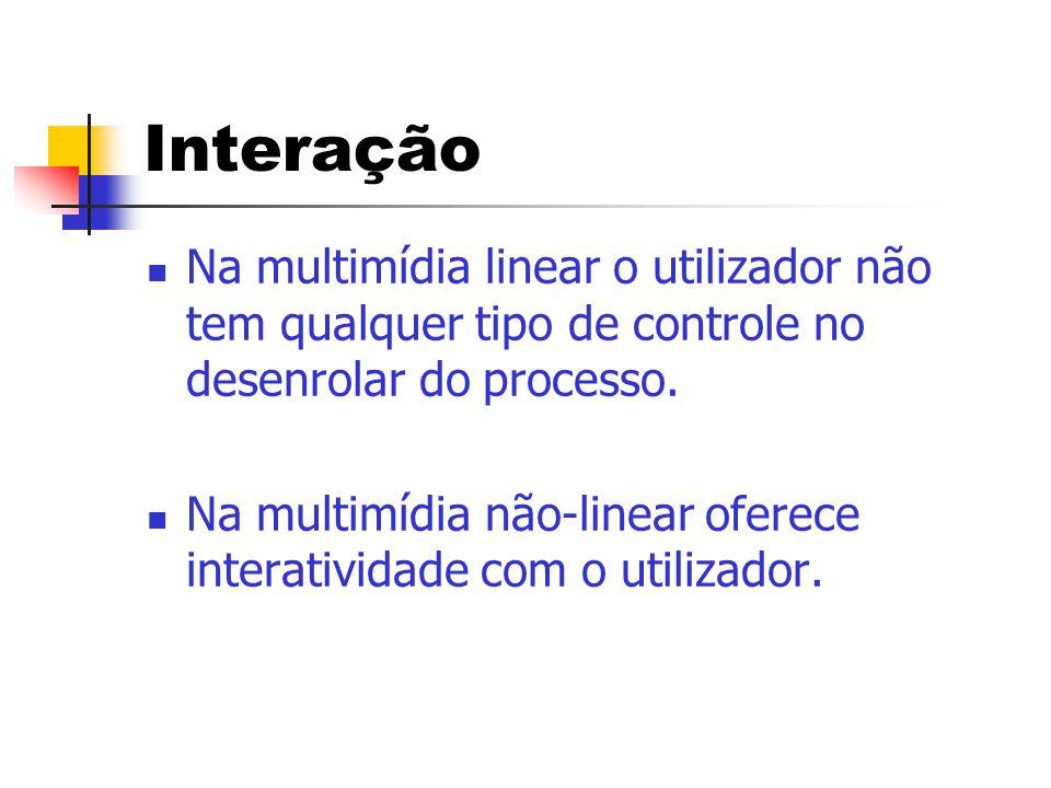 Interação  Na multimídia linear o utilizador não tem qualquer tipo de controle no desenrolar do processo.  Na multimídia não-linear oferece interati