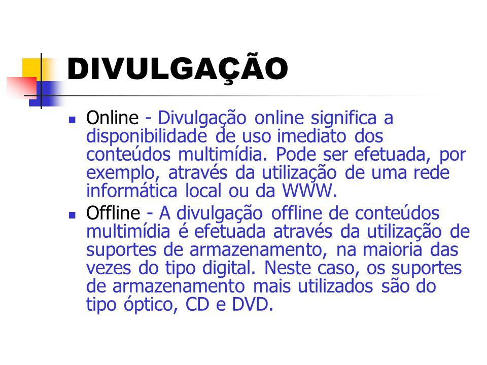 DIVULGAÇÃO  Online - Divulgação online significa a disponibilidade de uso imediato dos conteúdos multimídia. Pode ser efetuada, por exemplo, através
