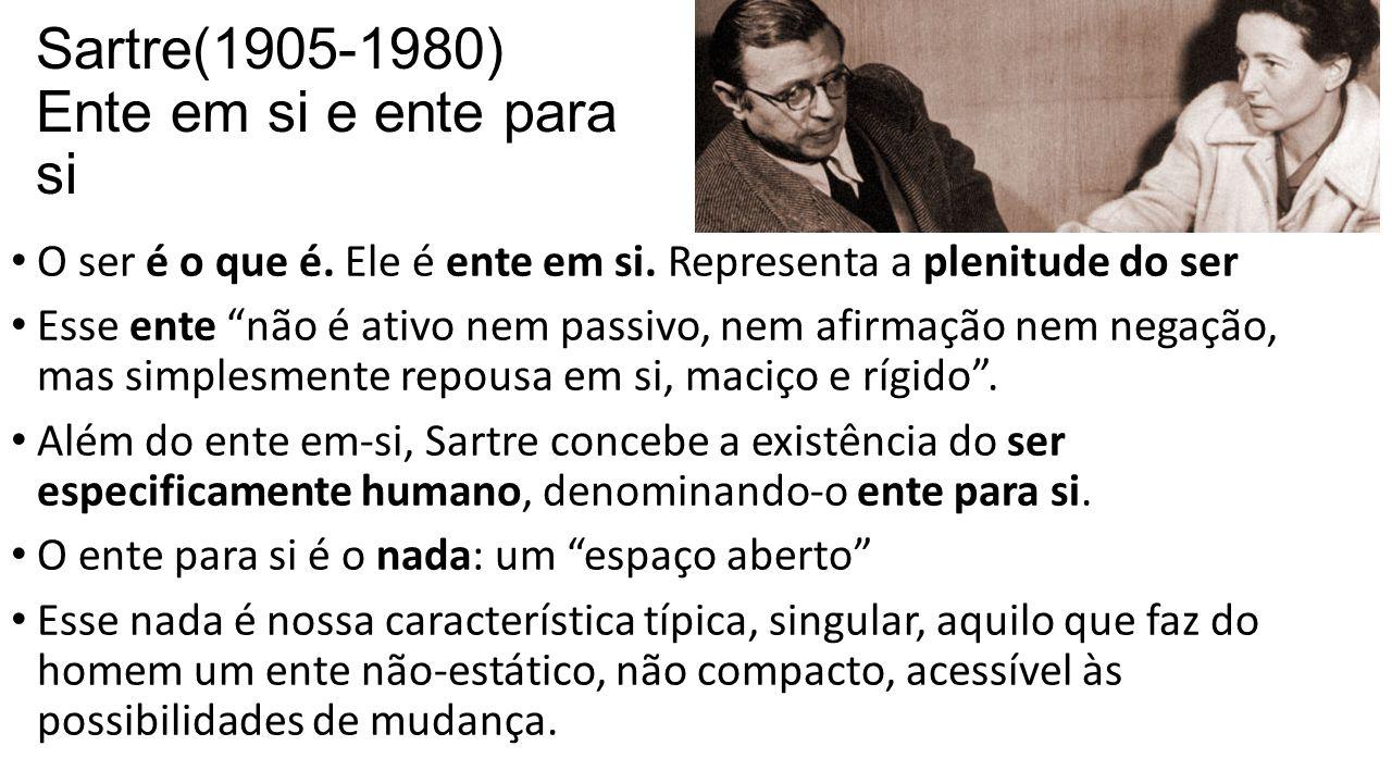 """Sartre(1905-1980) Ente em si e ente para si • O ser é o que é. Ele é ente em si. Representa a plenitude do ser • Esse ente """"não é ativo nem passivo, n"""