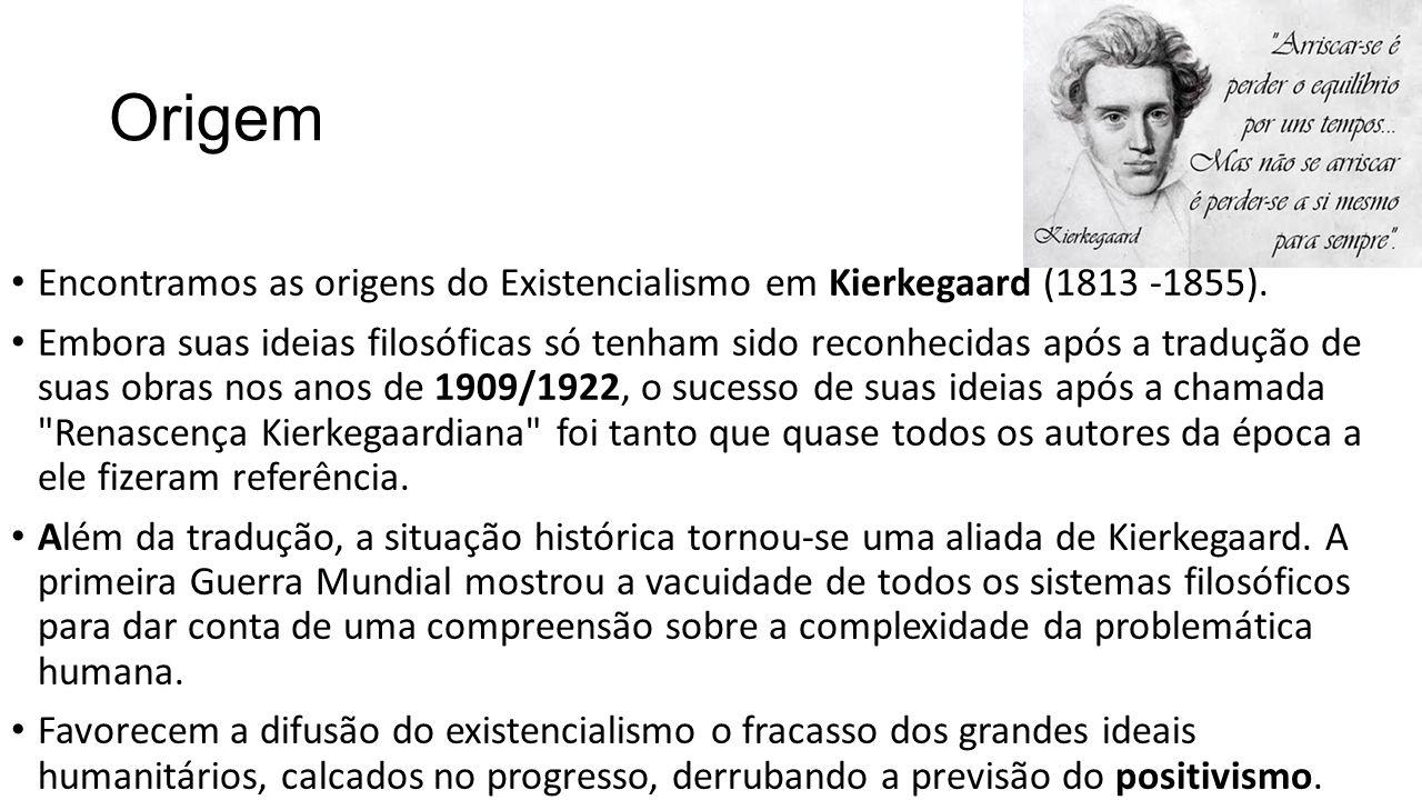 Origem • Encontramos as origens do Existencialismo em Kierkegaard (1813 -1855). • Embora suas ideias filosóficas só tenham sido reconhecidas após a tr