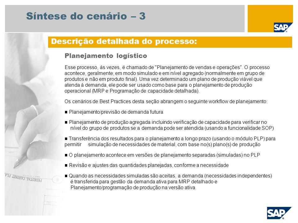 Diagrama do fluxo do processo Planejamento logístico Planejador de receitas Planejador da produção Evento Plano aceitável Orçamento de quantidade de vendas e transferência SOP (com CO- PA), Planejamento de receitas (172) Planejamento e controle operacional de produção (Cenários de produção) Verificação SOP  Verificação de demanda (Verificar plano de vendas)  Criar plano de produção global Reunião de vendas periódicas e operações Dados operacion ais de produção CO-PA = Demonstração de resultados, SOP = Planejamento de vendas e operações, PLP = Planejamento a longo prazo, MRP = Planejamento de necessidades e material Transferir plano global de produção para Gestão da demanda inativa Copiar para Gestão da demanda ativa Executar MRP de planejamento a longo prazo Criar cenário de planejamento PLP Não Sim Avaliar planejamento de capacidade Previsão de Quantidades de Venda(179)