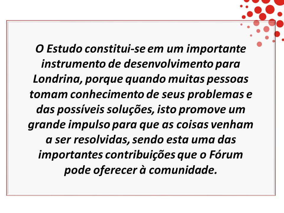 O Estudo constitui-se em um importante instrumento de desenvolvimento para Londrina, porque quando muitas pessoas tomam conhecimento de seus problemas