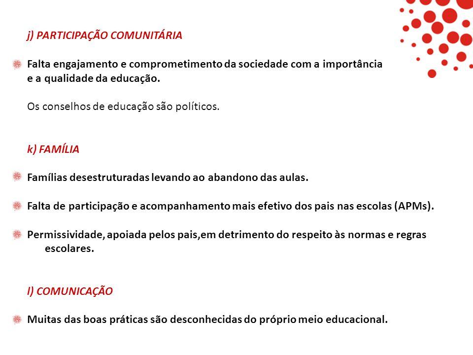 j) PARTICIPAÇÃO COMUNITÁRIA Falta engajamento e comprometimento da sociedade com a importância e a qualidade da educação. Os conselhos de educação são