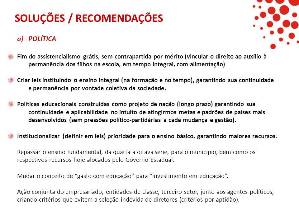 SOLUÇÕES / RECOMENDAÇÕES a)POLÍTICA Fim do assistencialismo grátis, sem contrapartida por mérito (vincular o direito ao auxílio à permanência dos filh