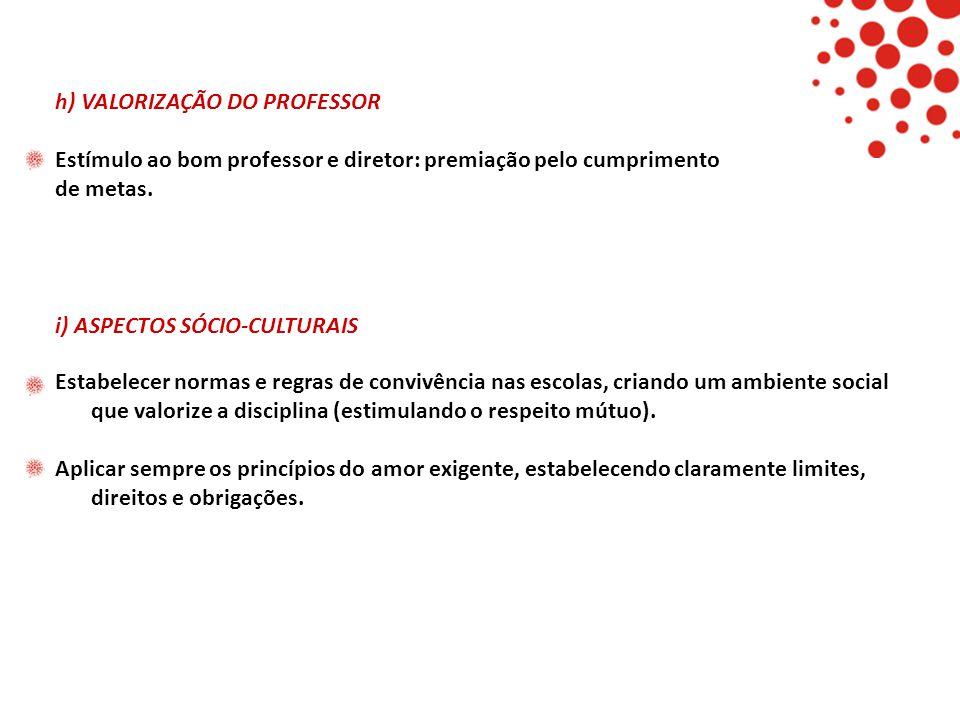 h) VALORIZAÇÃO DO PROFESSOR Estímulo ao bom professor e diretor: premiação pelo cumprimento de metas. i) ASPECTOS SÓCIO-CULTURAIS Estabelecer normas e
