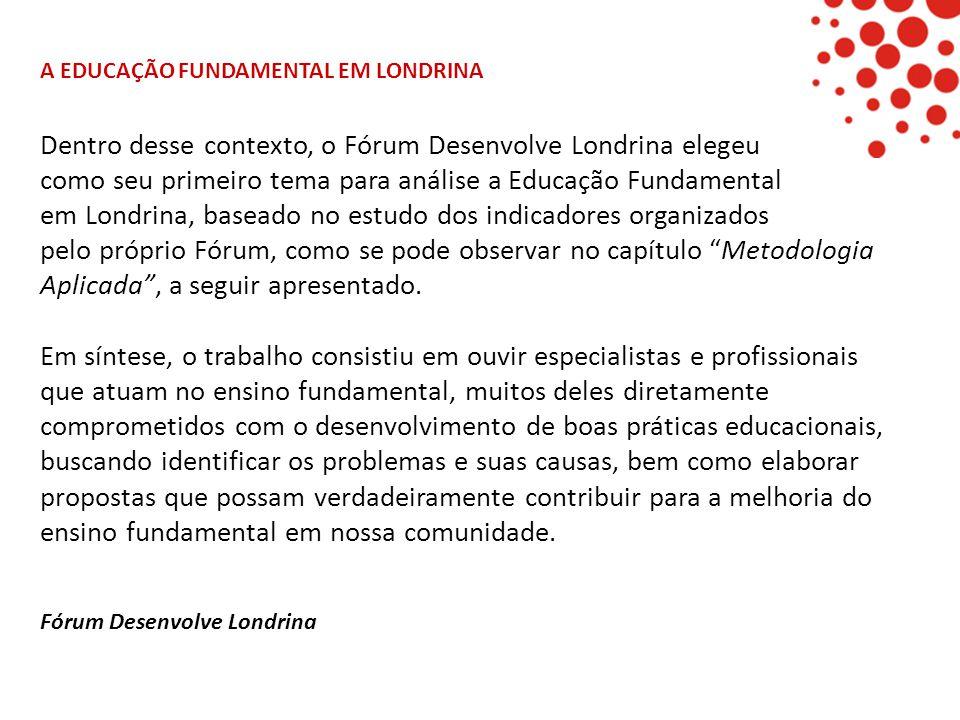 Dentro desse contexto, o Fórum Desenvolve Londrina elegeu como seu primeiro tema para análise a Educação Fundamental em Londrina, baseado no estudo do