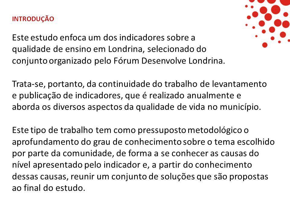 Este estudo enfoca um dos indicadores sobre a qualidade de ensino em Londrina, selecionado do conjunto organizado pelo Fórum Desenvolve Londrina. Trat