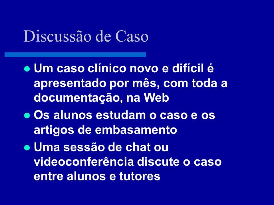 Curso Modular pela Web  Cursos de extensão de curta e média duração, ministrados pela Web ou de forma mista (presencial ou por VC)  Roteiro de auto-estudo, com instrução e avaliação on-line  Discussão interativa por chat, etc.