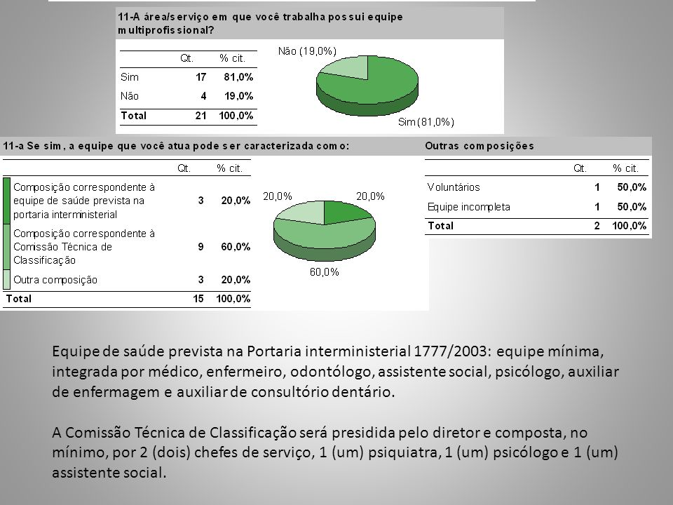 Equipe de saúde prevista na Portaria interministerial 1777/2003: equipe mínima, integrada por médico, enfermeiro, odontólogo, assistente social, psicó