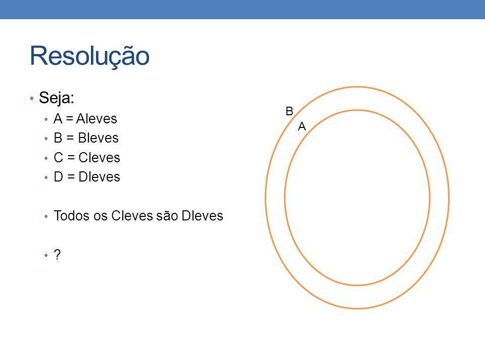Resolução • Seja: • A = Aleves • B = Bleves • C = Cleves • D = Dleves • Todos os Cleves são Dleves • ? B A