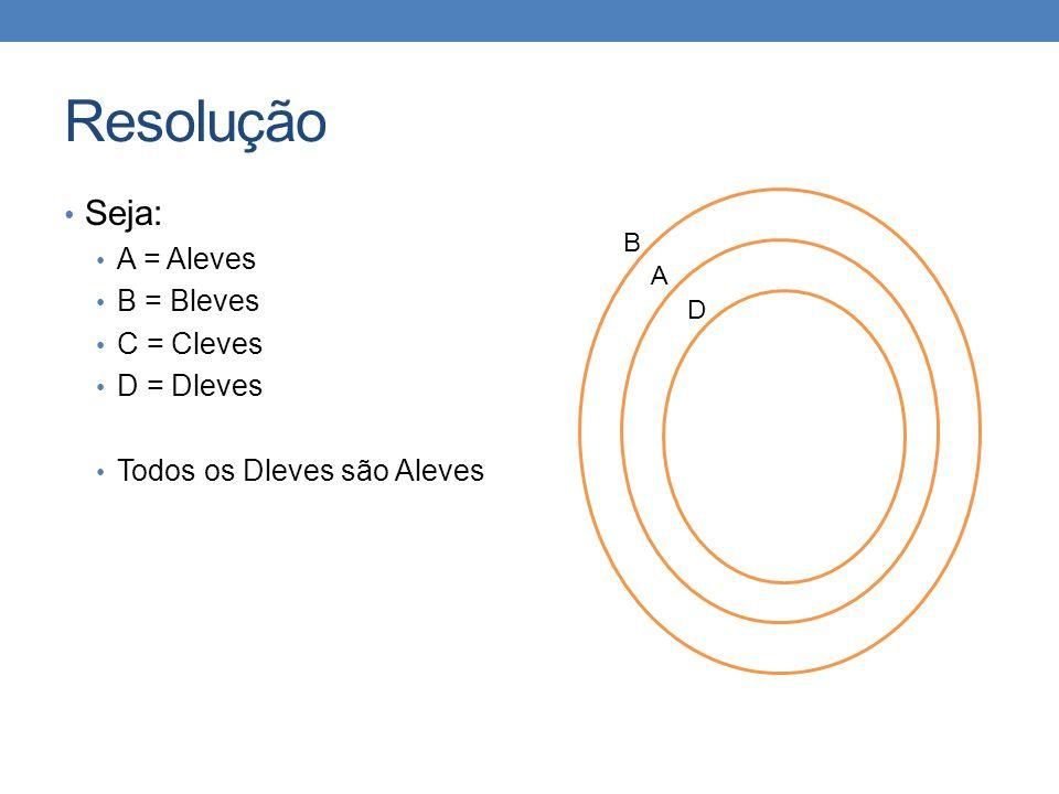 Resolução • Seja: • A = Aleves • B = Bleves • C = Cleves • D = Dleves • Todos os Dleves são Aleves B A D