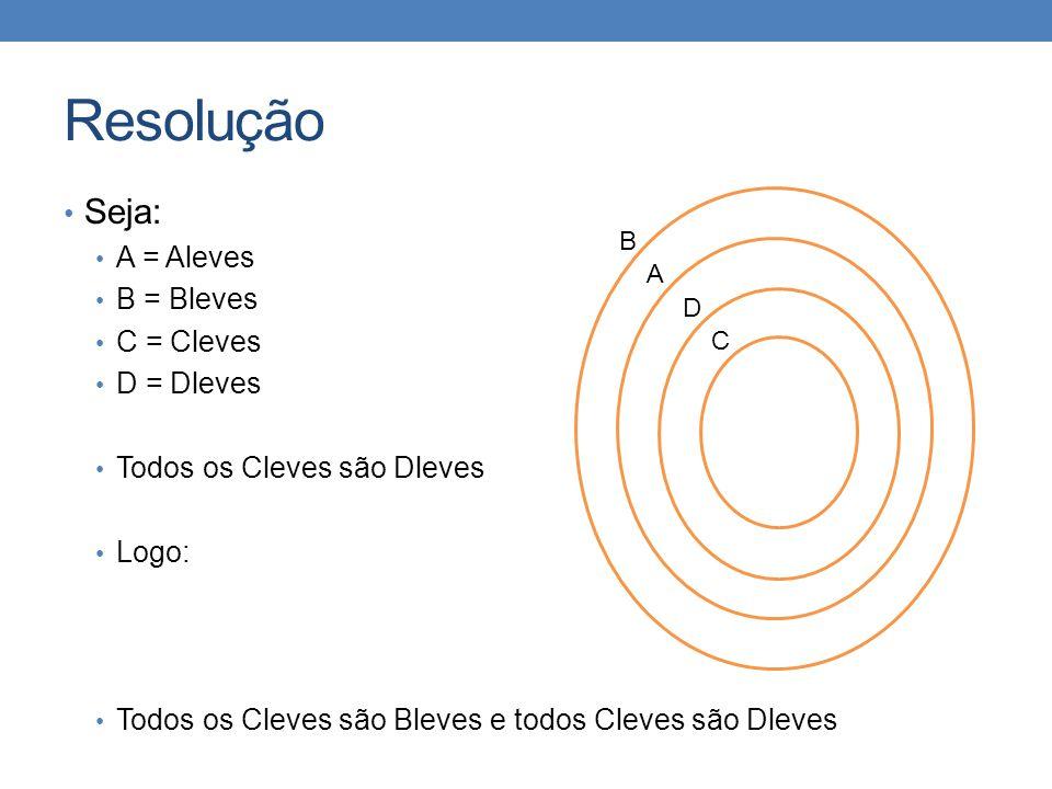 Resolução • Seja: • A = Aleves • B = Bleves • C = Cleves • D = Dleves • Todos os Cleves são Dleves • Logo: • Todos os Cleves são Bleves e todos Cleves
