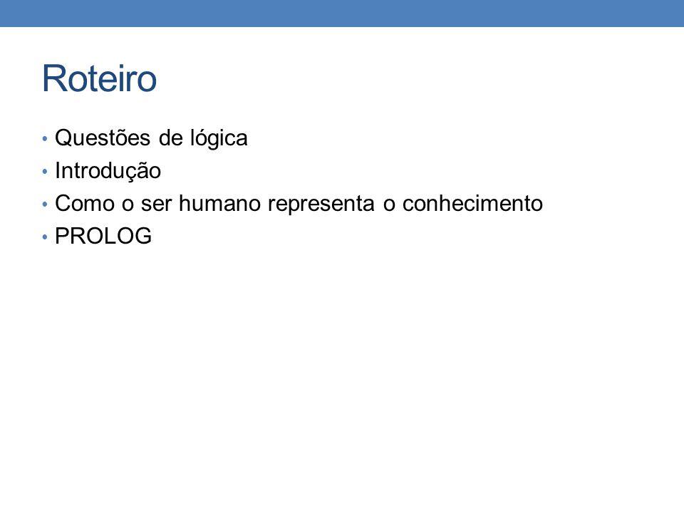 Roteiro • Questões de lógica • Introdução • Como o ser humano representa o conhecimento • PROLOG
