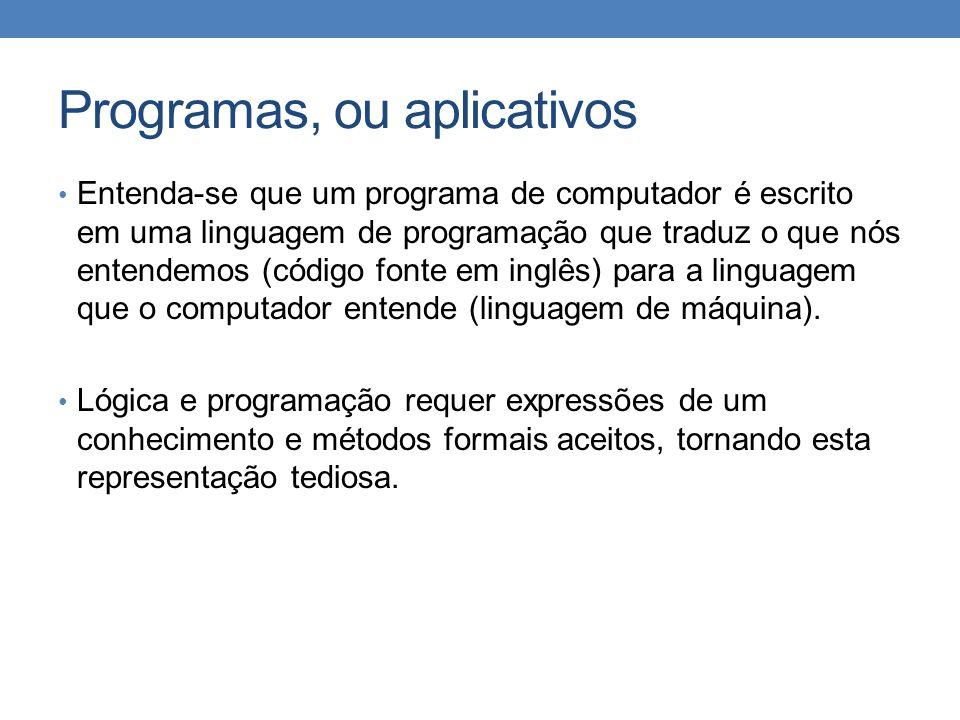 Programas, ou aplicativos • Entenda-se que um programa de computador é escrito em uma linguagem de programação que traduz o que nós entendemos (código