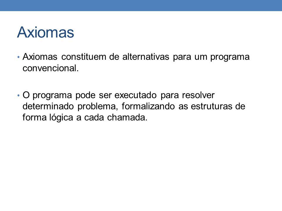 Axiomas • Axiomas constituem de alternativas para um programa convencional. • O programa pode ser executado para resolver determinado problema, formal