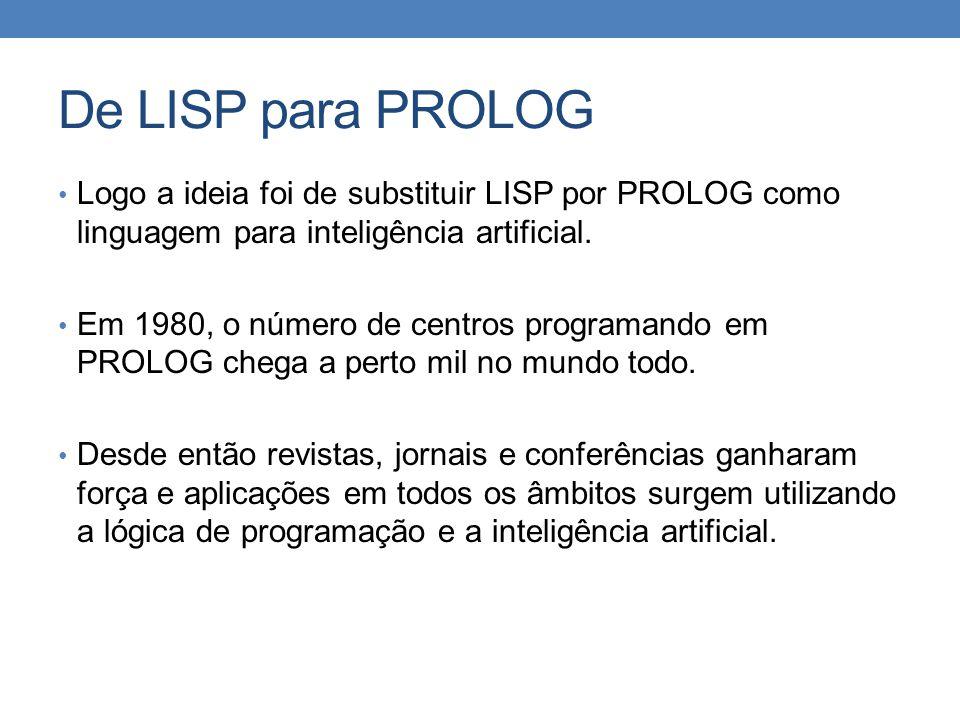 De LISP para PROLOG • Logo a ideia foi de substituir LISP por PROLOG como linguagem para inteligência artificial. • Em 1980, o número de centros progr