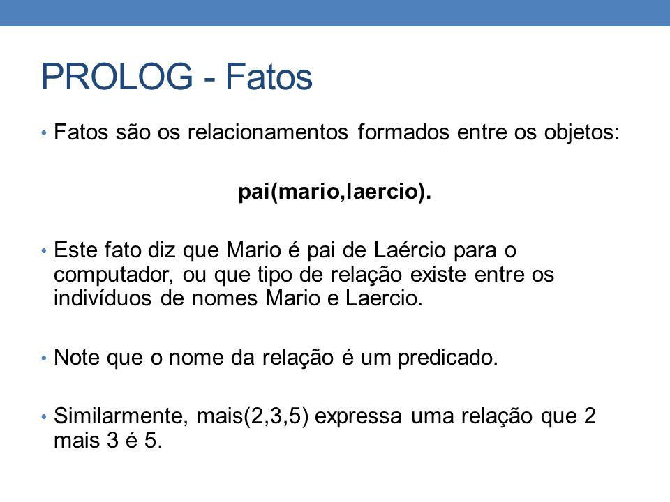 PROLOG - Fatos • Fatos são os relacionamentos formados entre os objetos: pai(mario,laercio). • Este fato diz que Mario é pai de Laércio para o computa