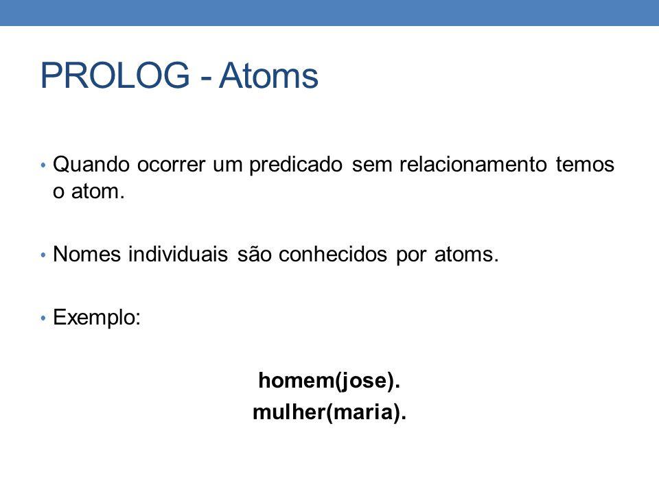 PROLOG - Atoms • Quando ocorrer um predicado sem relacionamento temos o atom. • Nomes individuais são conhecidos por atoms. • Exemplo: homem(jose). mu
