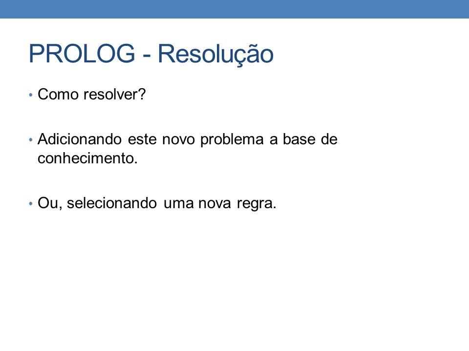 PROLOG - Resolução • Como resolver? • Adicionando este novo problema a base de conhecimento. • Ou, selecionando uma nova regra.