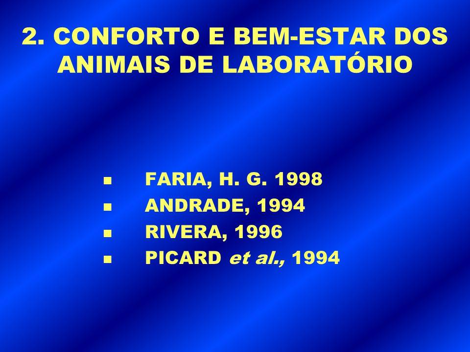 2. CONFORTO E BEM-ESTAR DOS ANIMAIS DE LABORATÓRIO n FARIA, H. G. 1998 n ANDRADE, 1994 n RIVERA, 1996 n PICARD et al., 1994