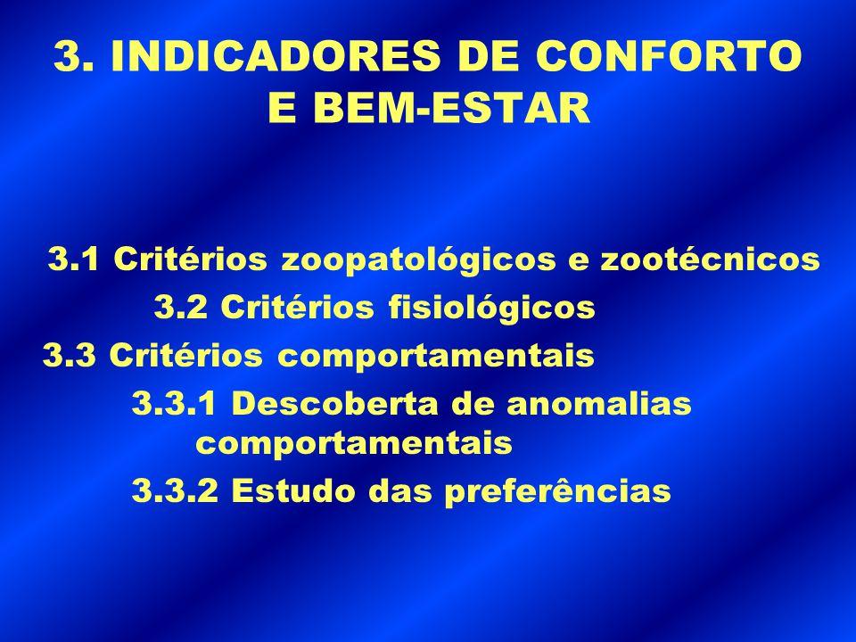 3. INDICADORES DE CONFORTO E BEM-ESTAR 3.1 Critérios zoopatológicos e zootécnicos 3.2 Critérios fisiológicos 3.3 Critérios comportamentais 3.3.1 Desco