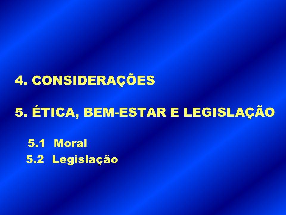 4. CONSIDERAÇÕES 5. ÉTICA, BEM-ESTAR E LEGISLAÇÃO 5.1 Moral 5.2 Legislação