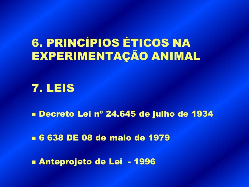 6. PRINCÍPIOS ÉTICOS NA EXPERIMENTAÇÃO ANIMAL 7. LEIS n Decreto Lei nº 24.645 de julho de 1934 n 6 638 DE 08 de maio de 1979 n Anteprojeto de Lei - 19