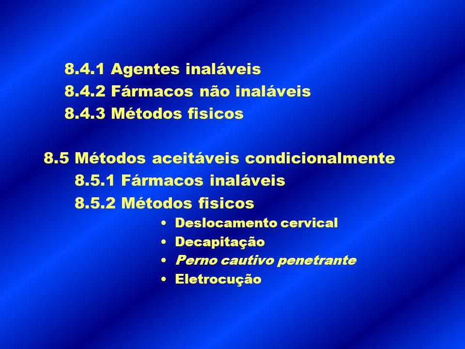 8.4.1 Agentes inaláveis 8.4.2 Fármacos não inaláveis 8.4.3 Métodos fisicos 8.5 Métodos aceitáveis condicionalmente 8.5.1 Fármacos inaláveis 8.5.2 Méto