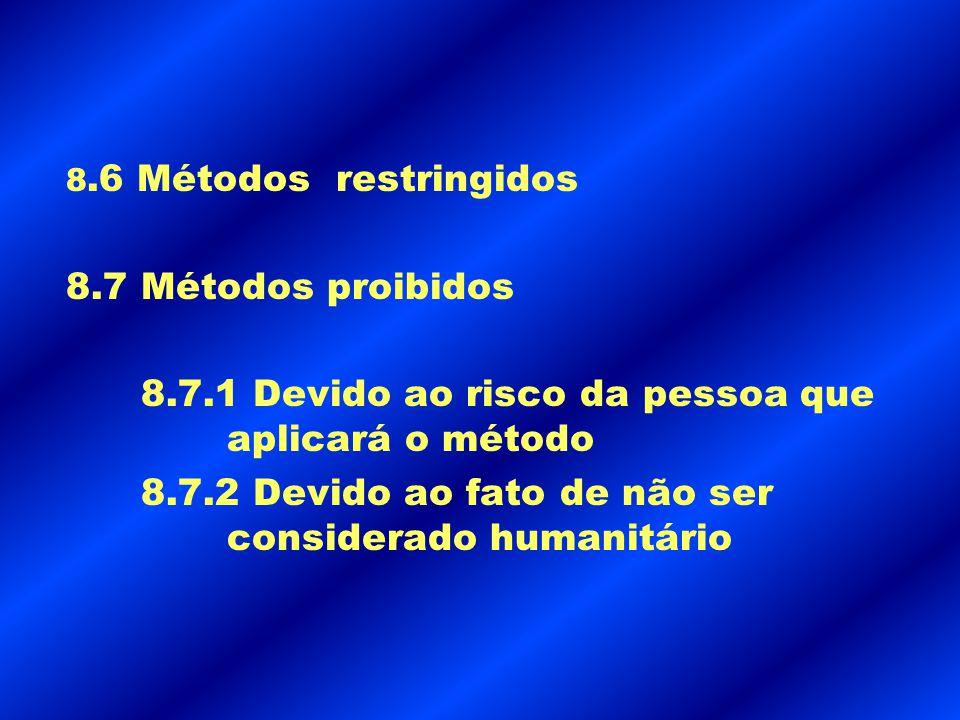 8.6 Métodos restringidos 8.7 Métodos proibidos 8.7.1 Devido ao risco da pessoa que aplicará o método 8.7.2 Devido ao fato de não ser considerado human