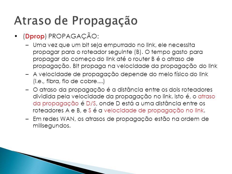 •( Dprop ) PROPAGAÇÃO: –Uma vez que um bit seja empurrado no link, ele necessita propagar para o roteador seguinte (B).