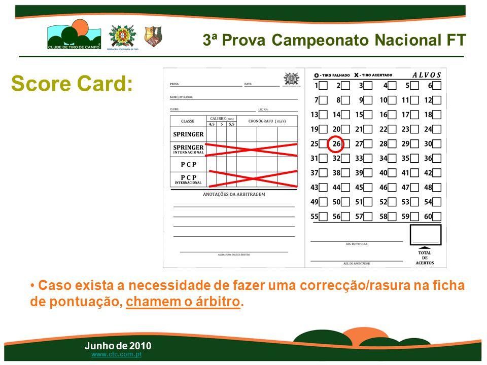 Junho de 2010 www.ctc.com.pt Score Card: • Caso exista a necessidade de fazer uma correcção/rasura na ficha de pontuação, chamem o árbitro.