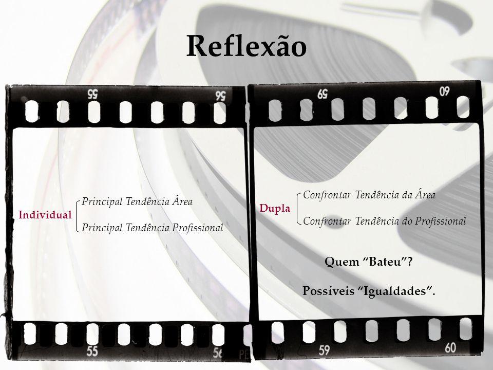 Reflexão Principal Tendência Área Individual Principal Tendência Profissional Confrontar Tendência da Área Dupla Confrontar Tendência do Profissional