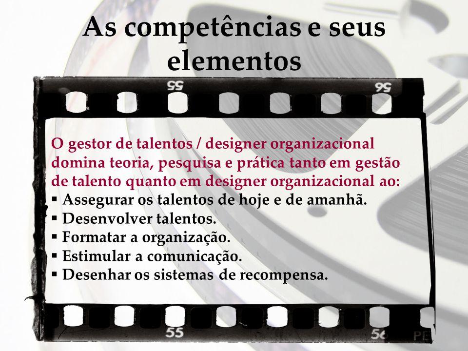 As competências e seus elementos O gestor de talentos / designer organizacional domina teoria, pesquisa e prática tanto em gestão de talento quanto em