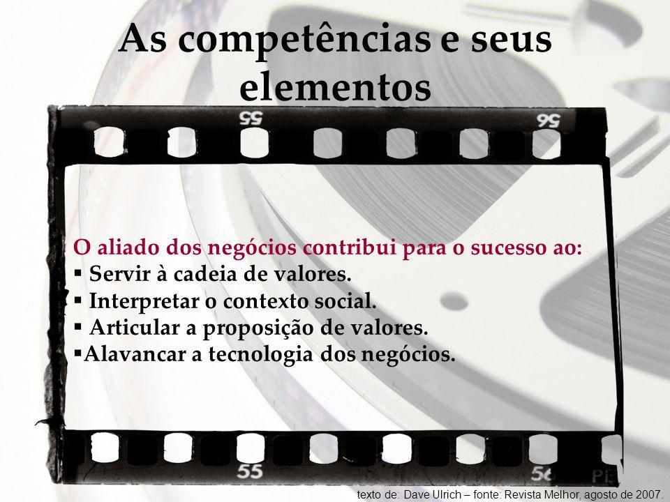 As competências e seus elementos O aliado dos negócios contribui para o sucesso ao:  Servir à cadeia de valores.  Interpretar o contexto social.  A