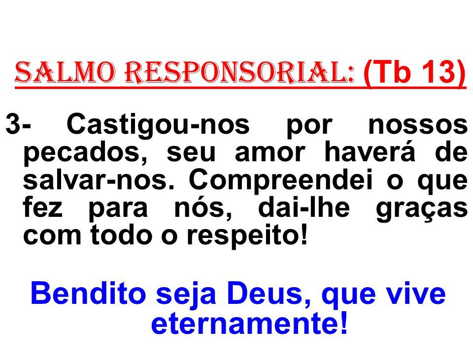 salmo responsorial: (Tb 13) 4- Bendizei o Senhor, seus eleitos, fazei festa e alegres louvai-o.