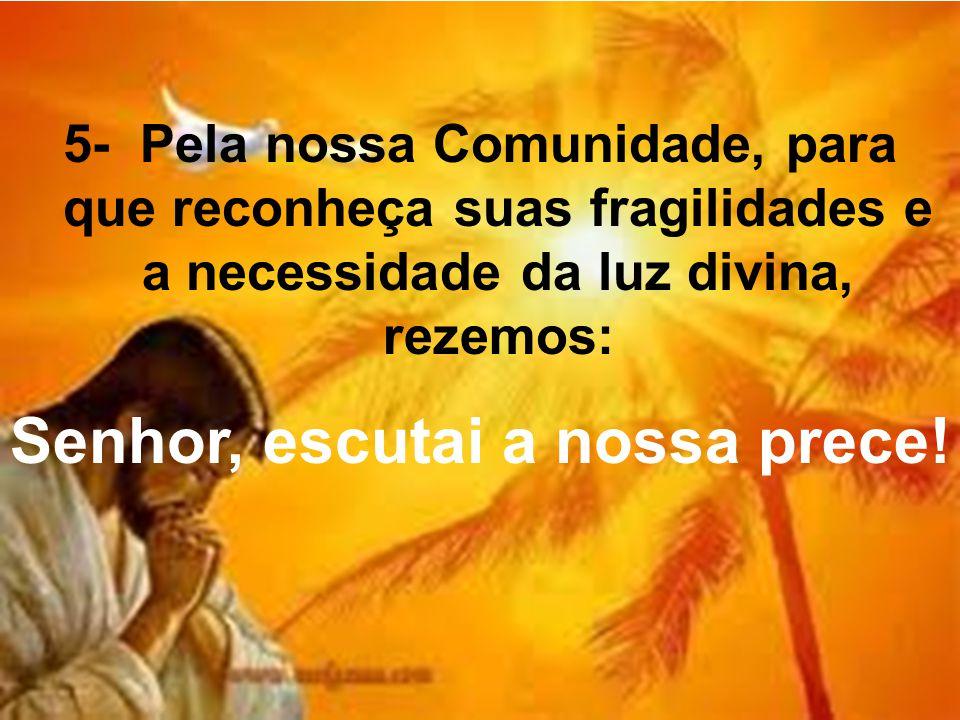 5- Pela nossa Comunidade, para que reconheça suas fragilidades e a necessidade da luz divina, rezemos: Senhor, escutai a nossa prece!
