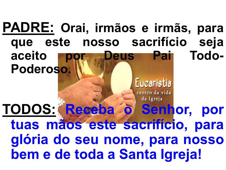 ORAÇÃO SOBRE AS OFERENDAS: PADRE: Acolhei, ó Deus, nós vos pedimos, as oferendas do vosso povo, para que possamos conseguir por este sacramento o que proclamamos pela fé.