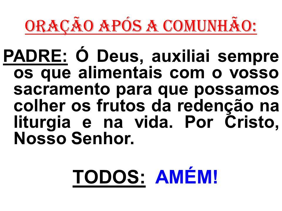 ORAÇÃO APÓS A COMUNHÃO: PADRE: Ó Deus, auxiliai sempre os que alimentais com o vosso sacramento para que possamos colher os frutos da redenção na liturgia e na vida.