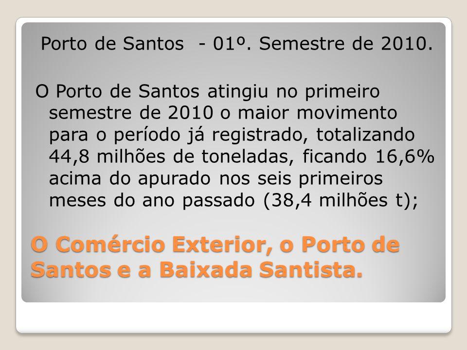 O Comércio Exterior, o Porto de Santos e a Baixada Santista. Porto de Santos - 01º. Semestre de 2010. O Porto de Santos atingiu no primeiro semestre d